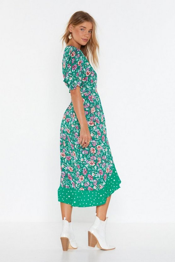 Nasty Gal Wrap Dress Green Floral, M