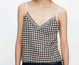 Zara Hounds tooth Cropped Top in Cream, S