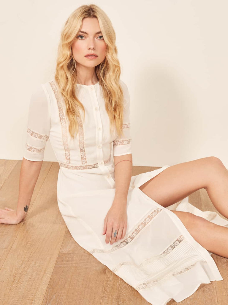 Reformation Dress in White, S