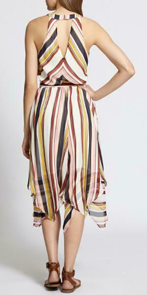sanctuary Striped Chiffon Handkerchief Hem Midi Dress in Ivory + Rust, M