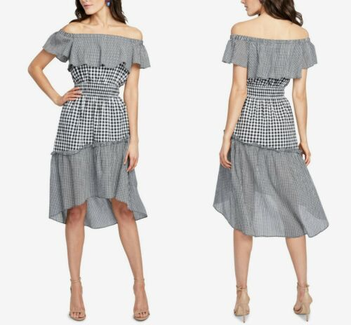 Rachel by Rachel Roy Off the Shoulder Dress in Black Gingham, M