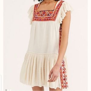 Free People Day Glow Dress in White Sand, M
