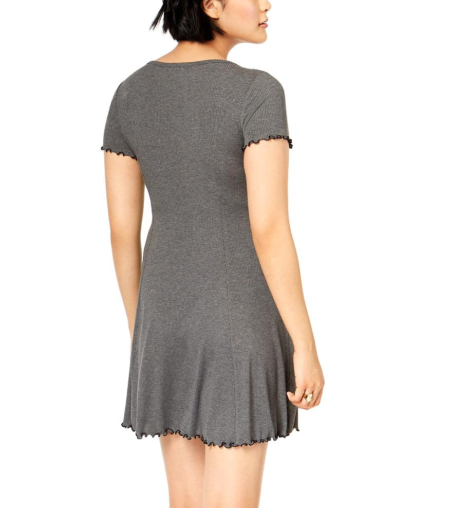 Bar III Midnight Dots Ribbed Fit And Flare in Gray, L