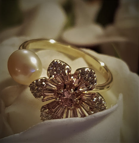 Gold Plated 925 Sterling Silver Daisy flower HaiNan Pearl Ring
