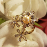 Pearl Ring  - 925 sterling silver 3 piece  ring comes with  rotating features