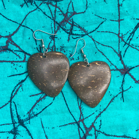 Mini Heart Coconut Shell Earrings