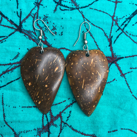 Heart Shaped Coconut Shell Earrings