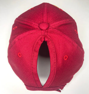 High Pontytail Hat in Ruby