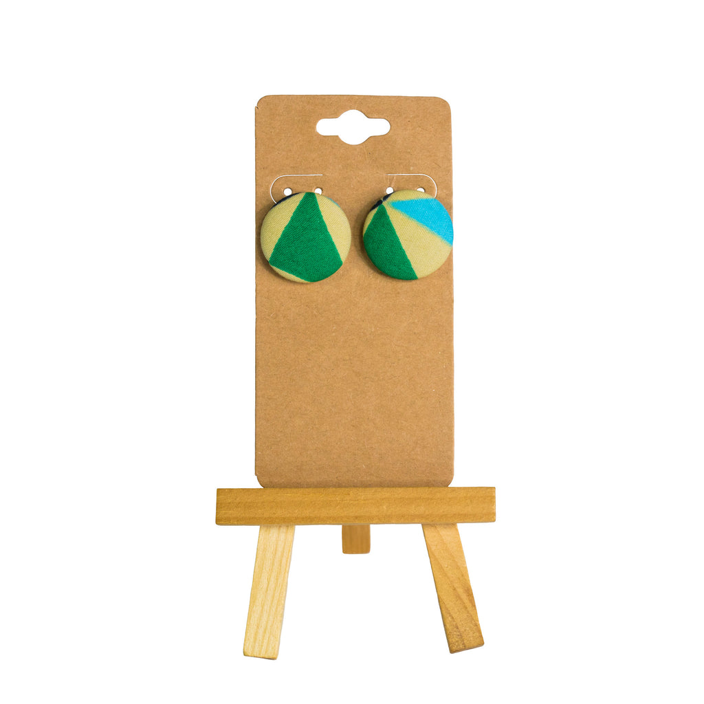 Clip on Fabric button Earrings