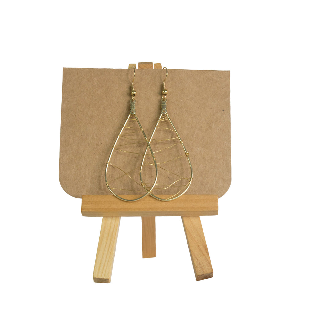 Gold Drop Wire Earrings