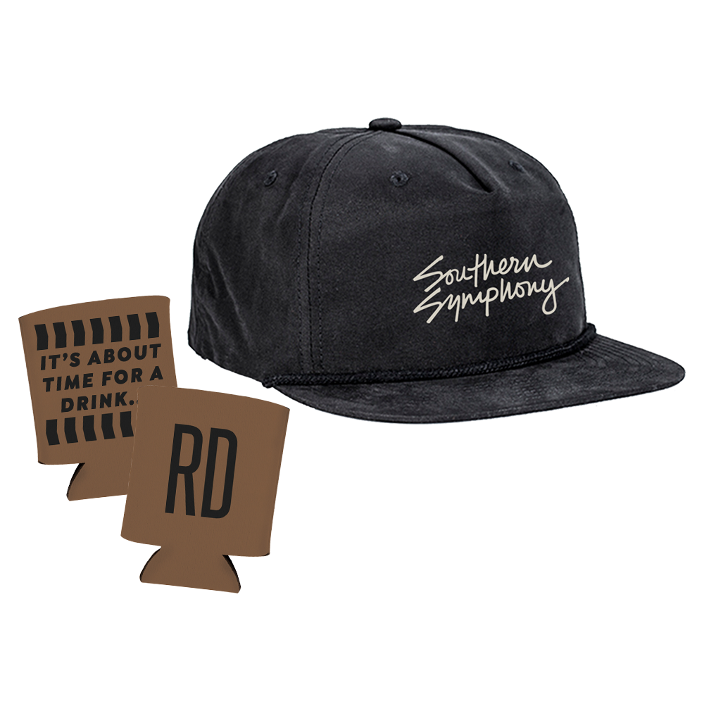 Black Southern Symphony Hat with brown koozie
