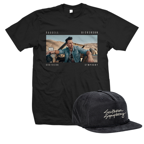 Russell Dickerson Image on front of Black Unisex Tee with Southern Symphony black hat
