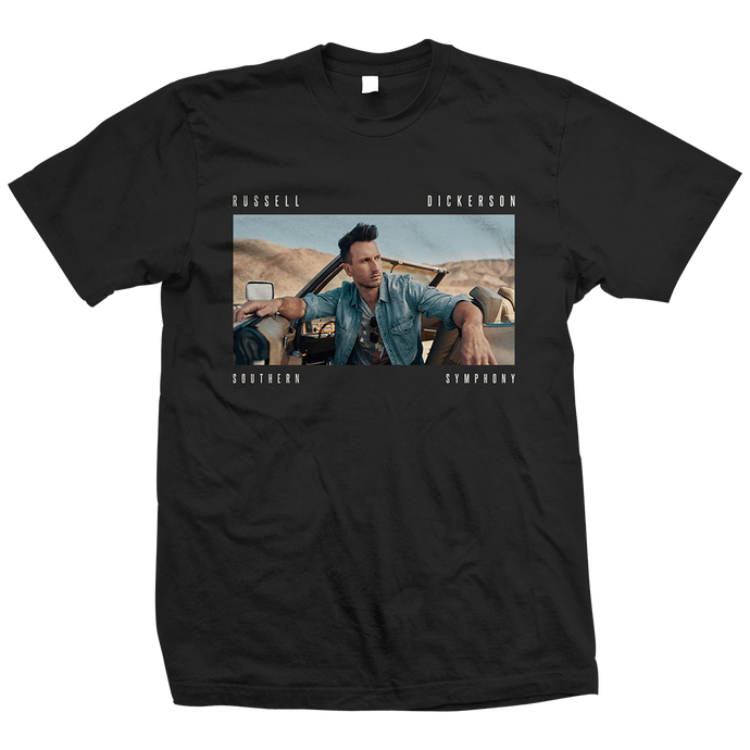 Russell Dickerson Southern Symphony Album art on black unisex t-shirt