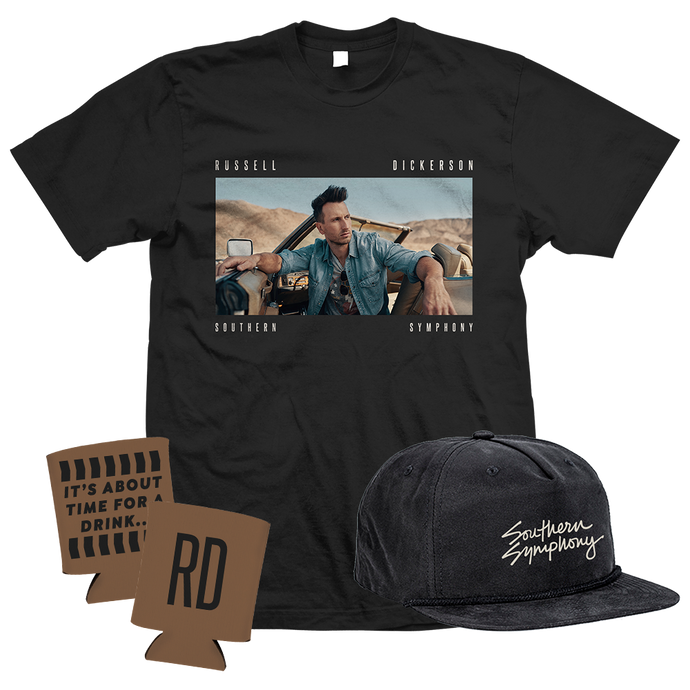 Russell Dickerson Southern Symphony Album Art on black unisex tee, Southern Symphony black hat, sand colored koozie with RD printed on it