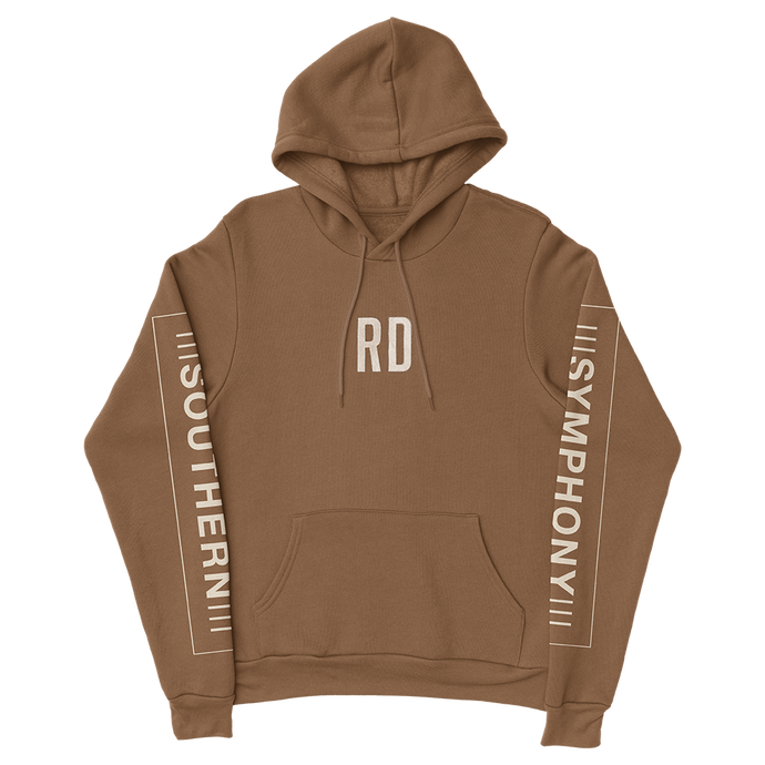 Sand colored hoodie with RD on middle chest, Southern Symphony printed on sleeves