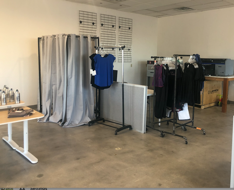 Printing space and dressing area