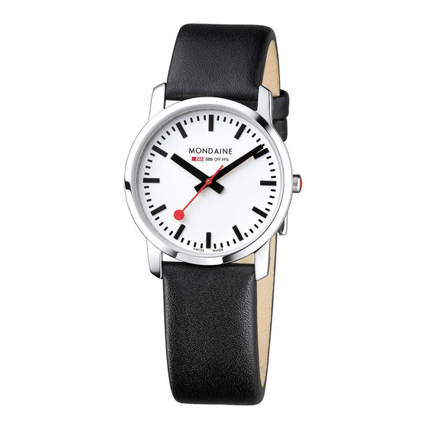 Simply Elegant, 36 mm, black leather watch, A400.30351.11SBB