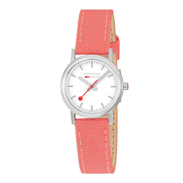 Classic, 30mm, coral-red textile watch, A658.30323.17SBP