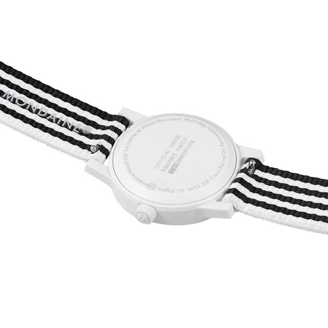 essence white, 32mm, black and white sustainable watch for men and women, MS1.32110.LA