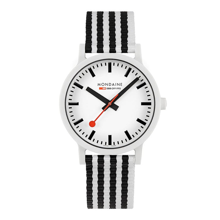 essence, 41mm, black and white sustainable watch for men and women, MS1.41110.LA