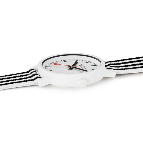 essence white, 41mm, black and white sustainable watch for men and women, MS1.41110.LA