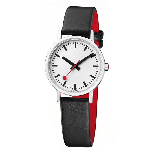 Classic, 30 mm, black leather watch, A658.30323.16OM