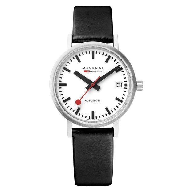 Classic, 33 mm, black leather watch, A128.30008.16SBB,4