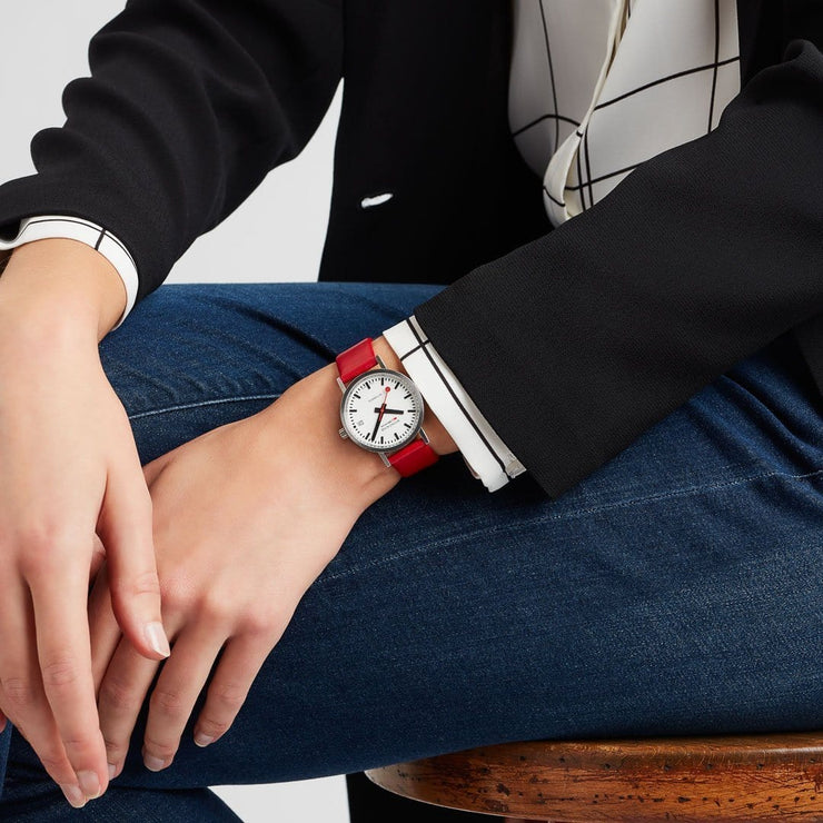 Classic, 33 mm, red leather watch, A128.30008.16SBC,2