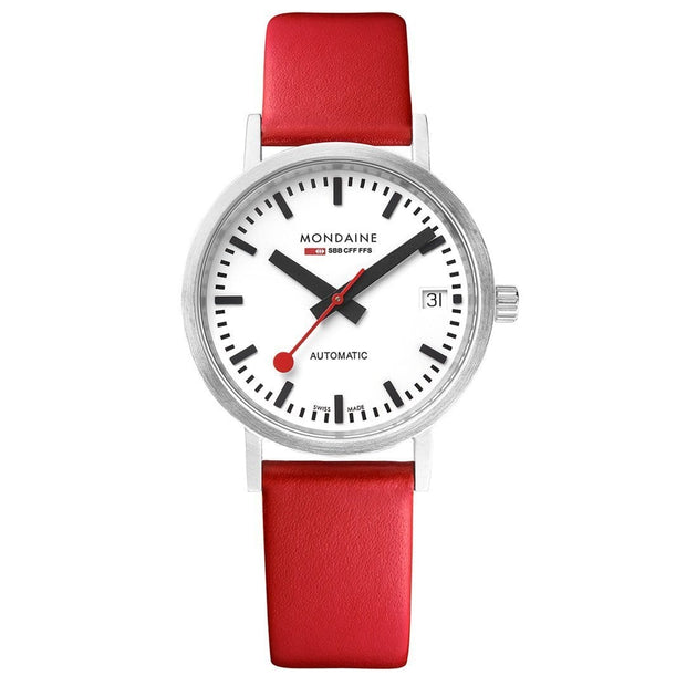 Classic, 33 mm, red leather watch, A128.30008.16SBC,5