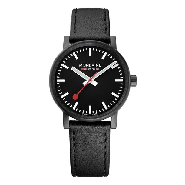 evo2, 35 mm, black leather watch, MSE.35121.LB,6