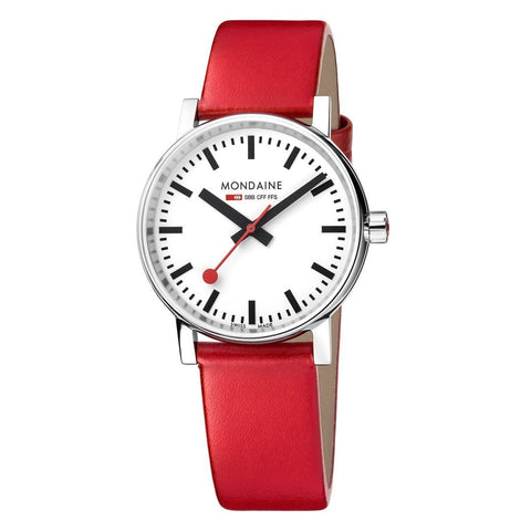 evo2, 35 mm, red leather watch, MSE.35110.LC