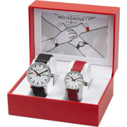 evo2 set, 30 and 40 mm, his and her casual leather watches,2