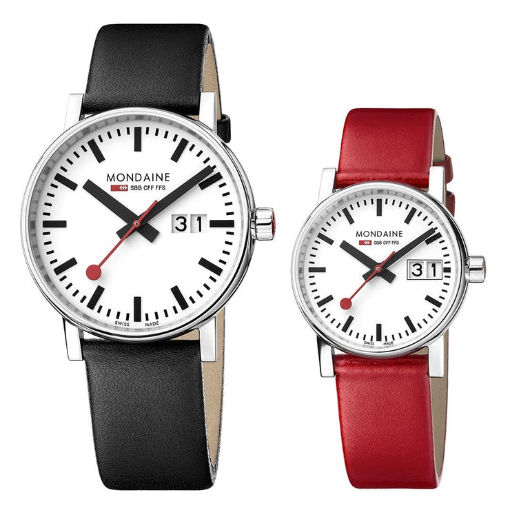 evo2 set, 30 and 40 mm, his and her casual leather watches