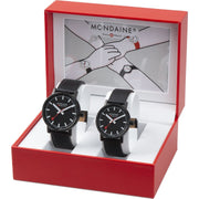 evo2 set, 35 and 40 mm, his and her black leather watches,2