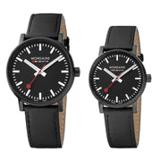 evo2 set, 35 and 40 mm, his and her black leather watches