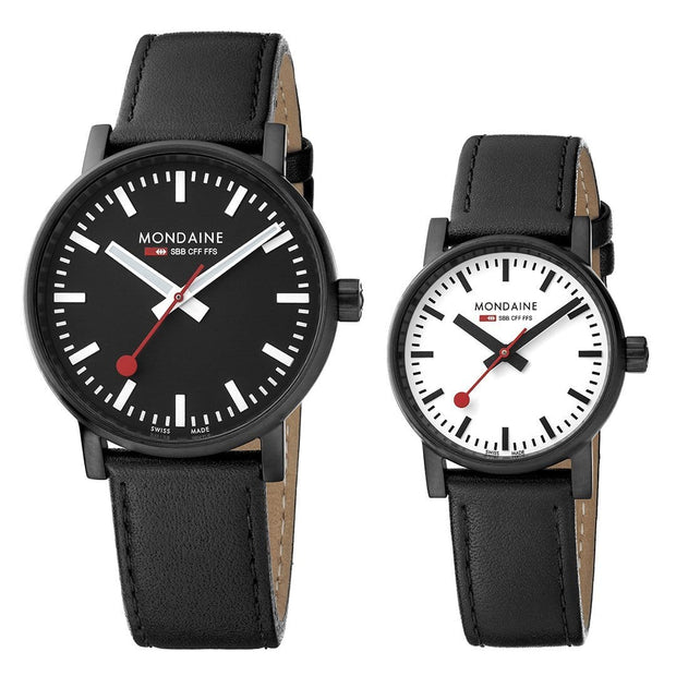 evo2 set, 30 and 40 mm, his and her black leather watches