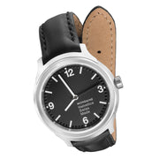 Helvetica Bold, 34 mm, black leather watch, MH1.B3120.LB,3
