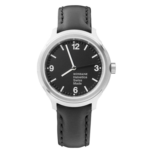Helvetica Bold, 34 mm, black leather watch, MH1.B3120.LB,4