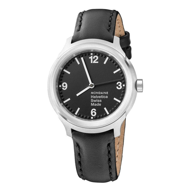 Helvetica Bold, 34 mm, black leather watch, MH1.B3120.LB