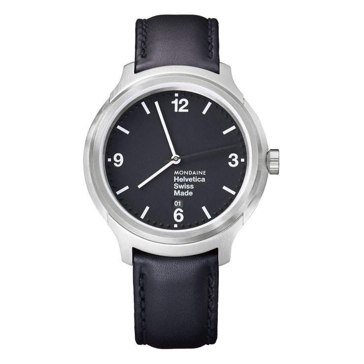 Helvetica Bold, 43 mm, black leather watch, MH1.B1220.LB,5