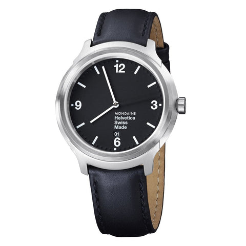 Helvetica Bold, 43 mm, black leather watch, MH1.B1220.LB