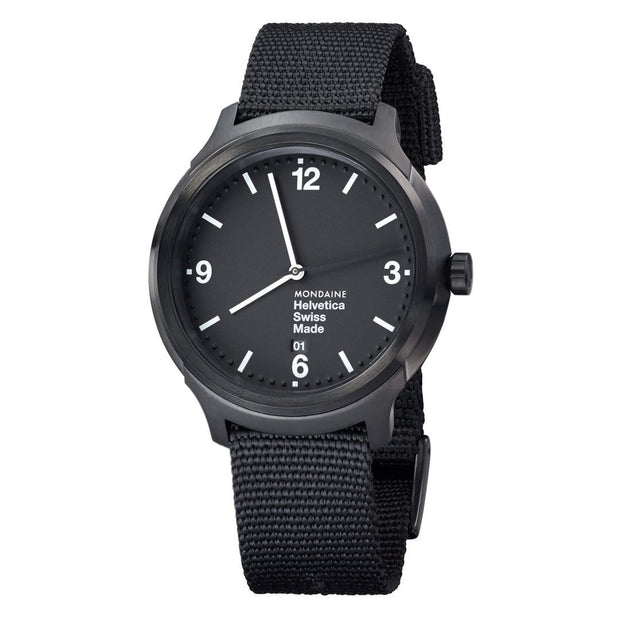 Helvetica Bold, 43 mm, black casual watch, MH1.B1221.NB