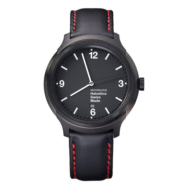 Helvetica Bold, 43 mm, black leather watch, MH1.B1221.LB,2
