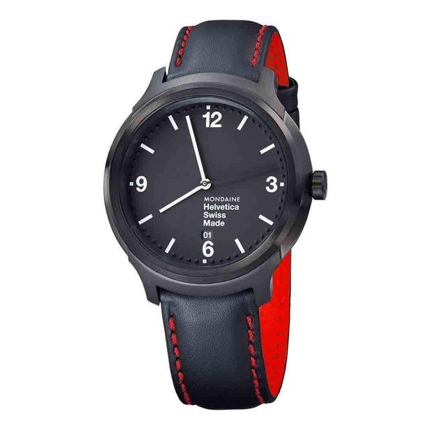 Helvetica Bold, 43 mm, black leather watch, MH1.B1221.LB