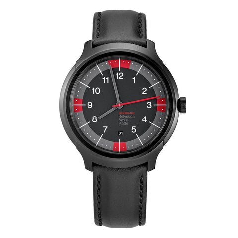 Helvetica Bold, 43 mm, black leather watch, MH1.B1222.LB,4