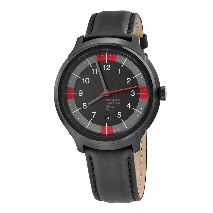 Helvetica Bold, 43 mm, black leather watch, MH1.B1222.LB