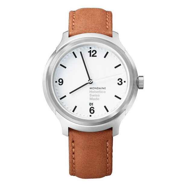 Helvetica Bold, 43 mm, brown leather watch, MH1.B1210.LG,5