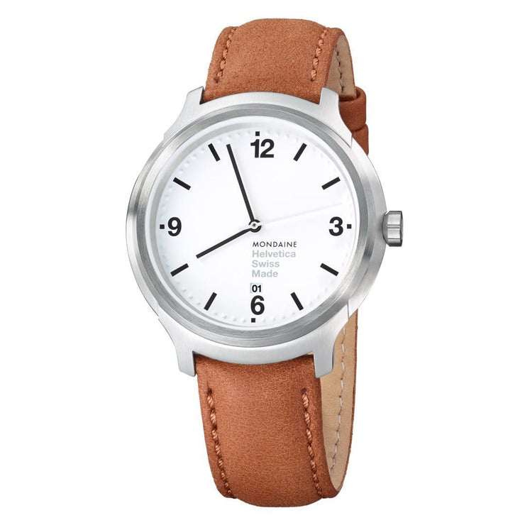 Helvetica Bold, 43 mm, brown leather watch, MH1.B1210.LG