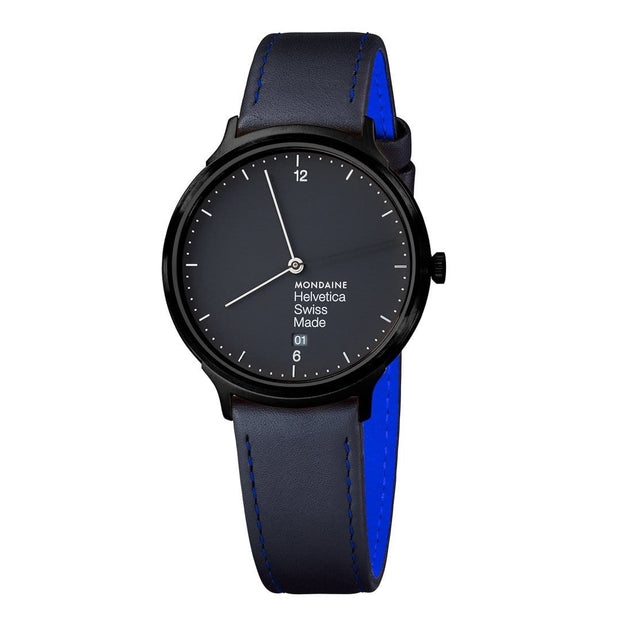 Helvetica Light, 38 mm, black leather watch, MH1.L2222.LB