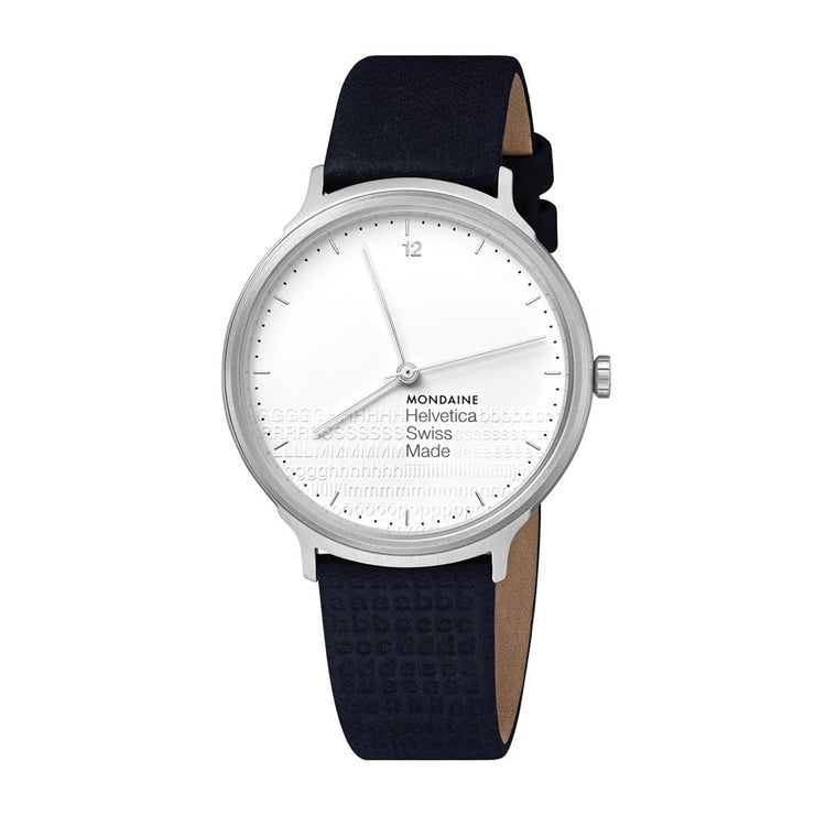 Helvetica Light, 38 mm, minimalist black leather watch, MH1.L2110.LD